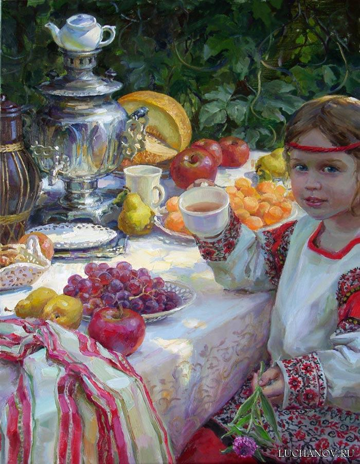 «Осенний натюрморт и Соня за самоваром». Полина Лучанова